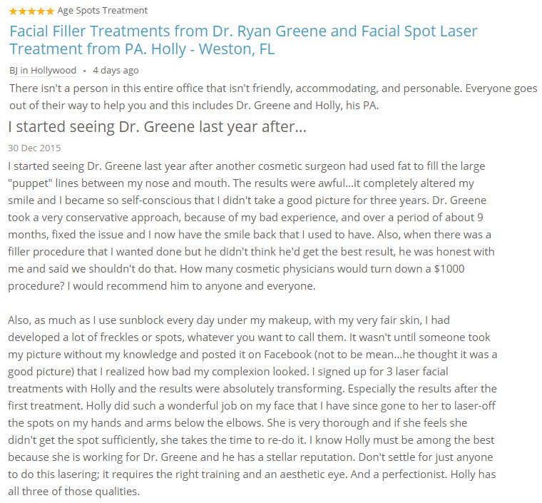 Facial Filler Testimonial Weston, Florida