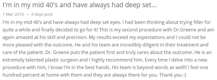 Filler Under Eye Review Dr Ryan Greene