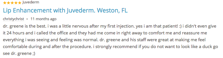 Testimonial Lip Augmenation Dr. Ryan Greene