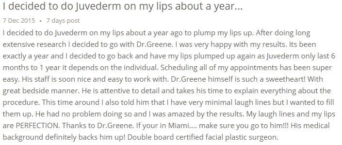 Lip Augmentation Testimonial