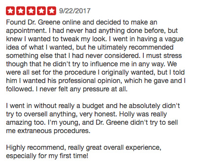 Dr Ryan Greeen Review on Yelp