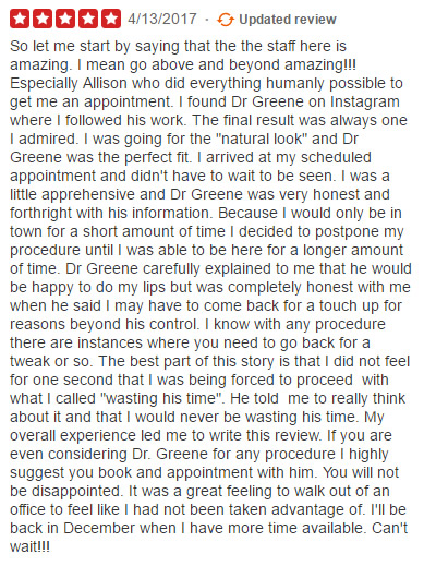 Yelp Review for Dr Ryan Greene